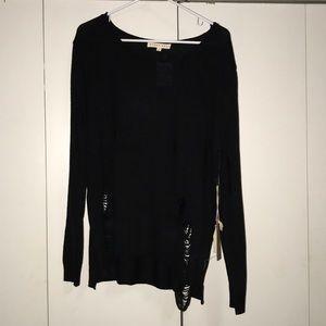 Blush Noir Black Ripped Sweater